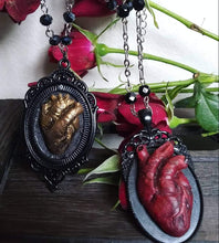 "Anatomical Heart of Gold Gothic Style, 16"" black iridescent glass beaded necklace, Sculpted Jewelry"