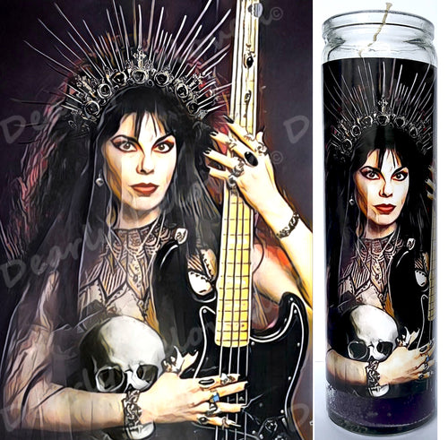 St Patricia Morrison prayer candle, goth, sisters of mercy, 8' glass jar votive