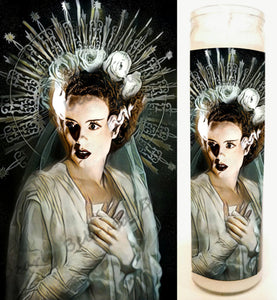 "Bride of Frank, Frankenstein Altar Candle, Devotional 8"" glass jar votive"