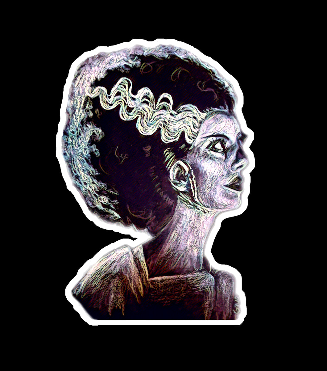 Bride of Frankenstein Sticker, goth, classic horror, water resistant