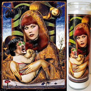 "St. Ivy and Lux, 8"" glass jar votive, Our Lady and Lord of the Cramps"