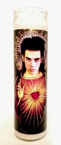 "Saint Nick Cave, 8"" Votive glass jar Prayer Candle, St. Nick of the Bad Seeds"