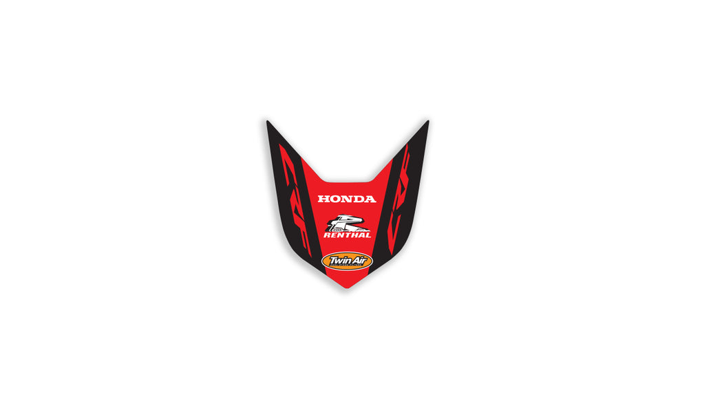 honda front fender decal in factory red black design