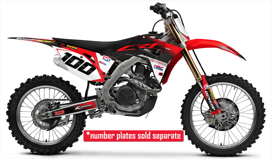 honda full graphic decal kit in factory red black