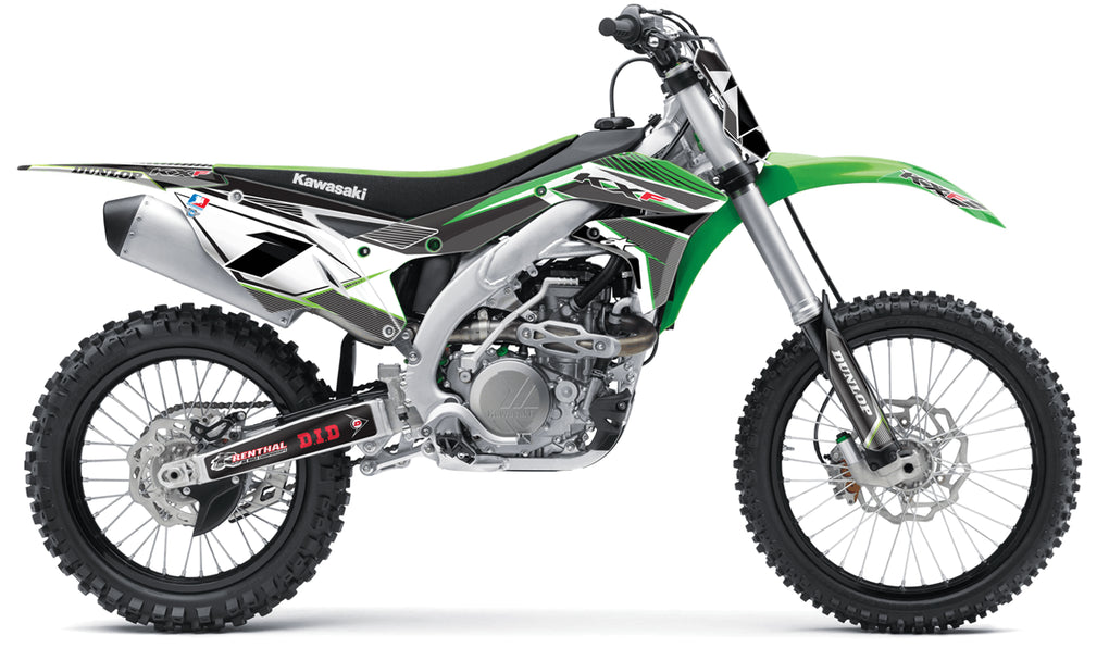 kawasaki complete graphics kit in concept black green design, mxisland