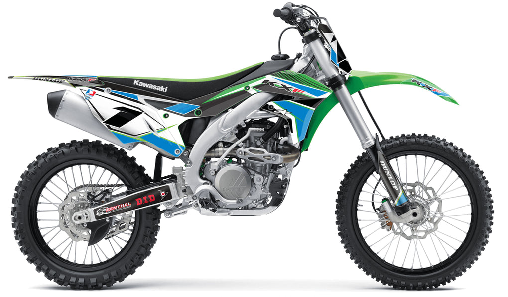 kawasaki complete graphic kit in blue green concept design