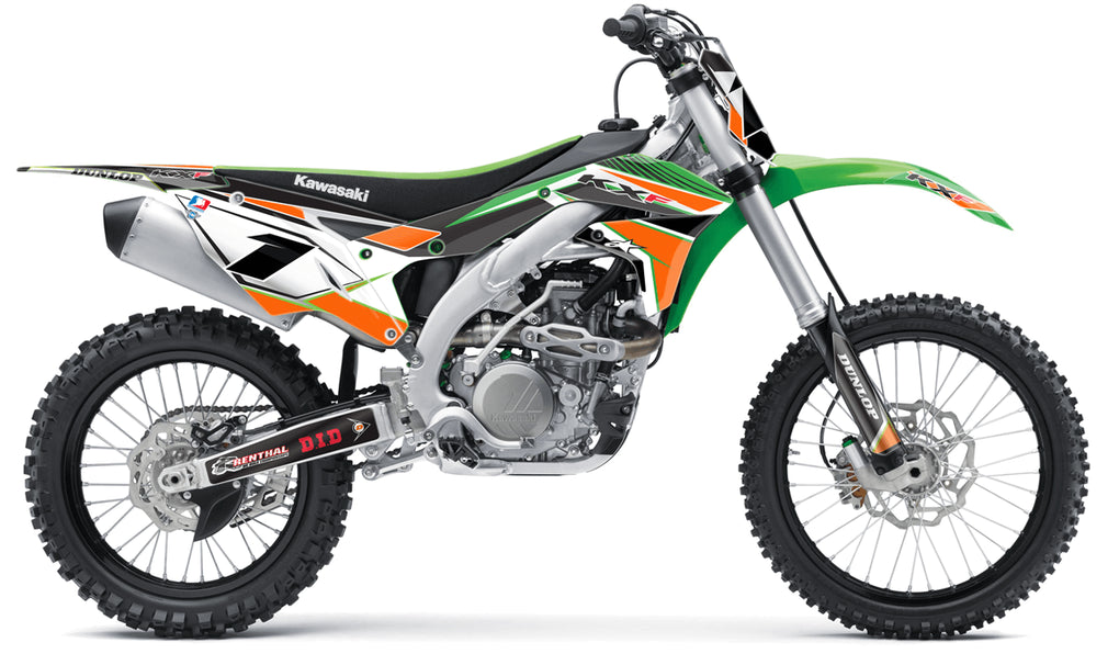 kawasaki orange green full graphics kit in concept design