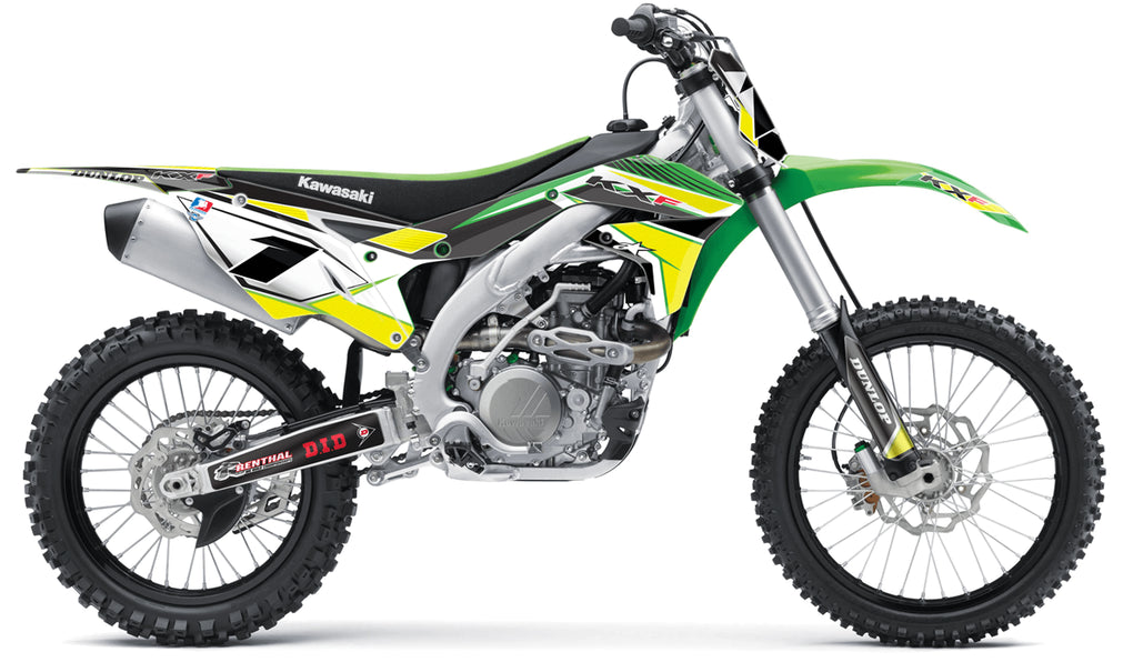 kawasaki yellow green complete graphics kit in concept design