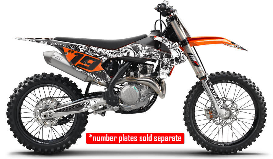 ktm full graphics kit in bonecrusher design