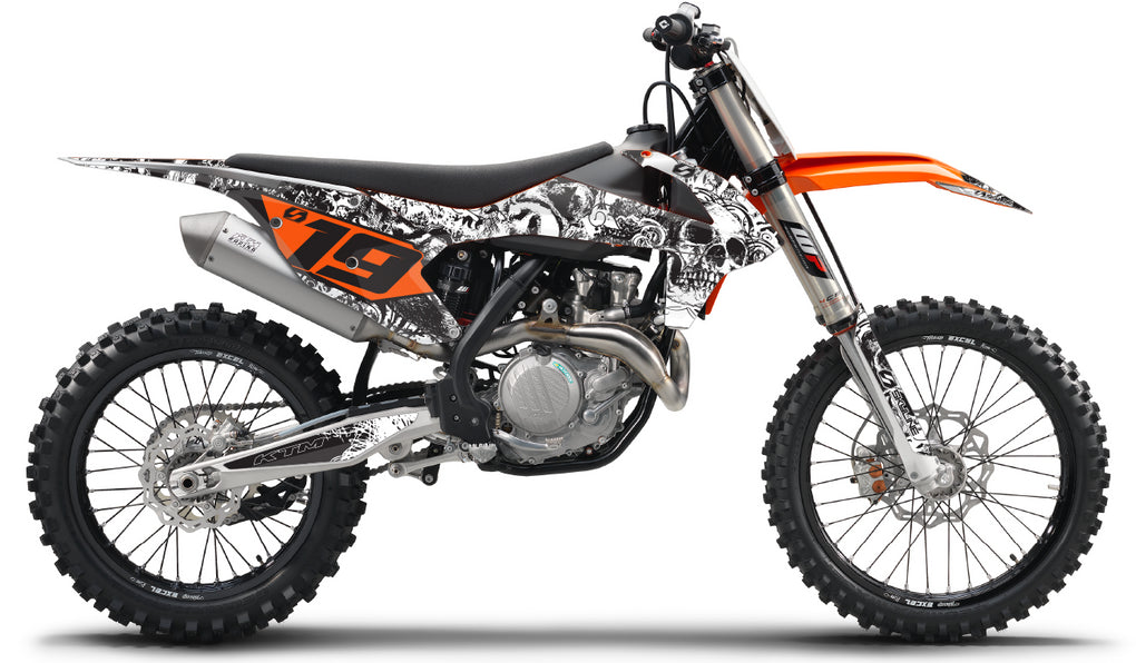 BONECRUSHER : WHITE / BLACK KTM Graphics kit