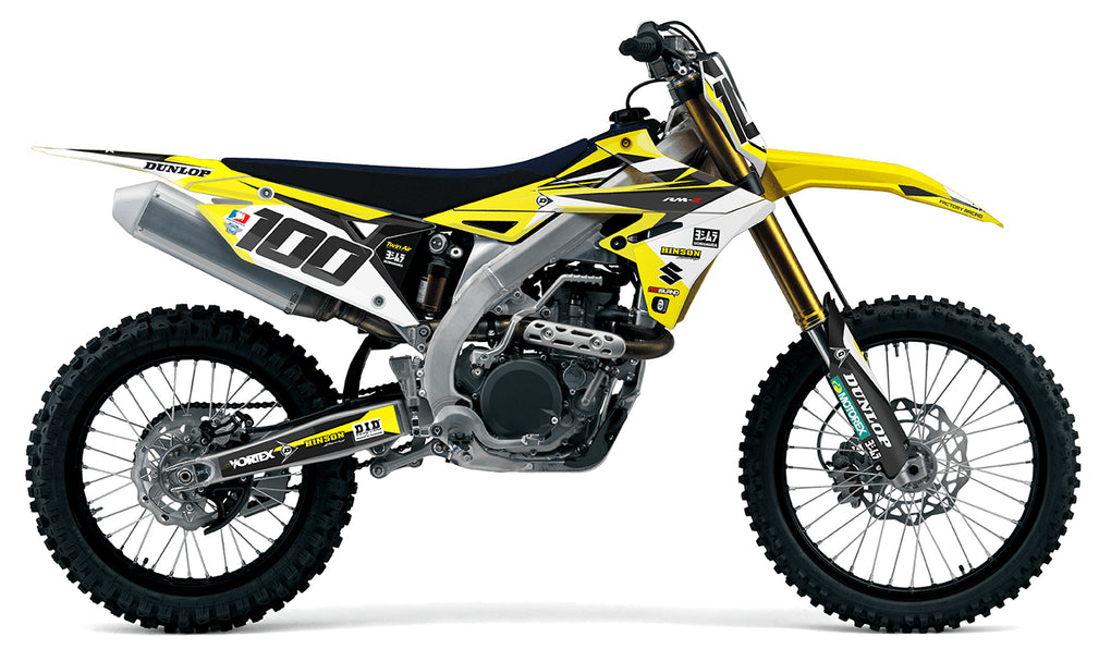 suzuki complete decal kit in Factory black, yellow design
