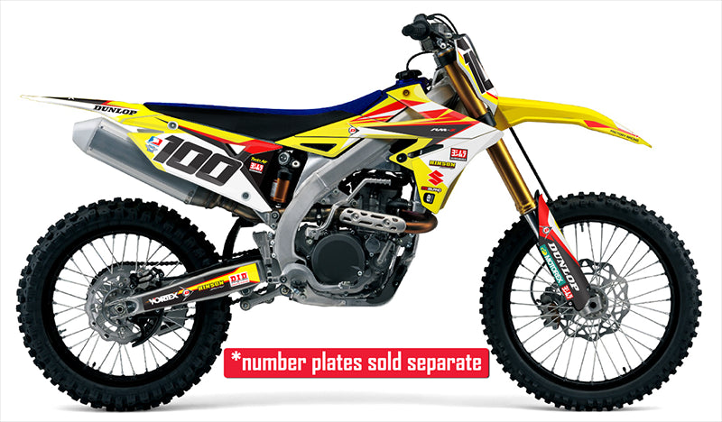 suzuki factory red yellow graphic kit