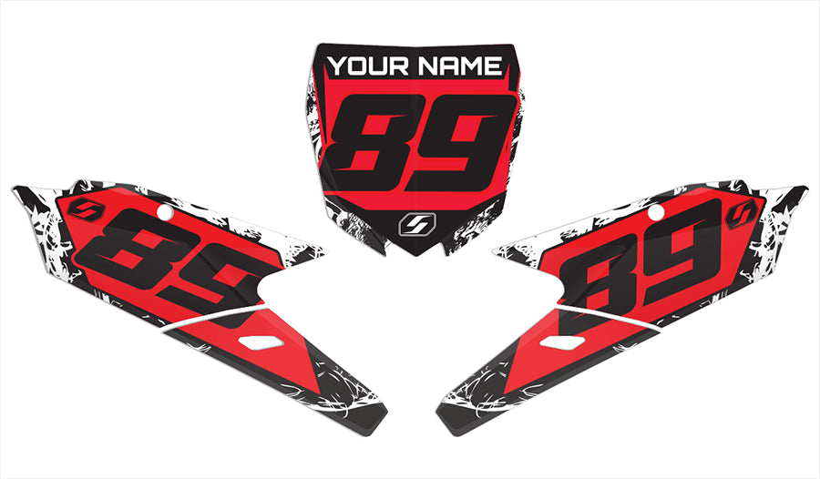 Yamaha back ground graphics kit in red bonecrusher design