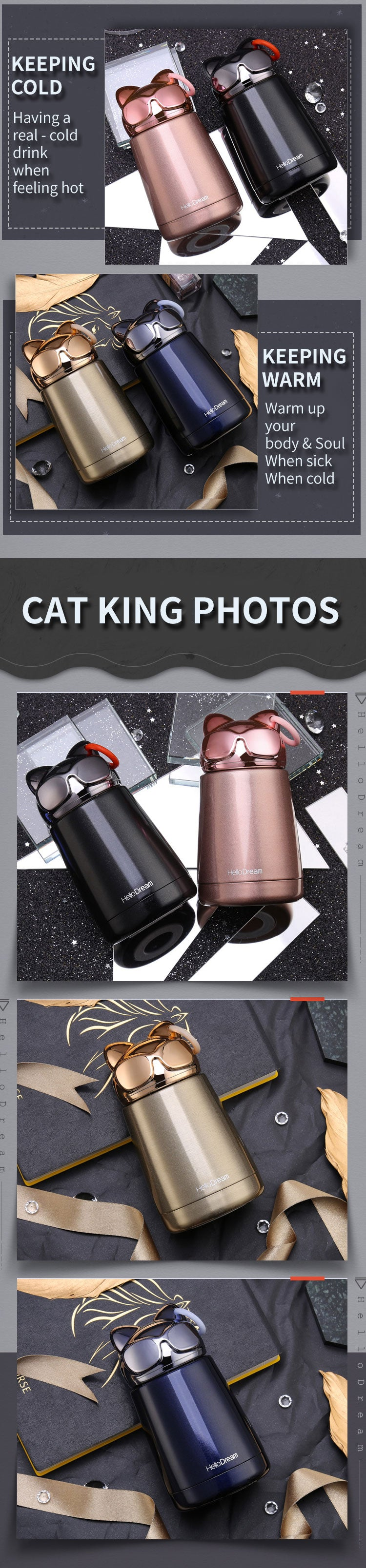 cat water bottle insulated vacuum thermal thermos coffee mug hot cold thumbler