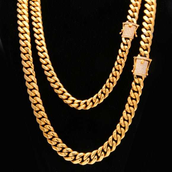 12mm/14mm Gold & Silver Hot Miami Cuban Link With Cz Clasp