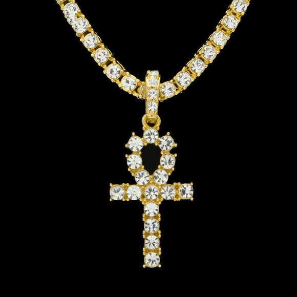 14K Golden  CZ Diamond Egyptian Cross Pendant
