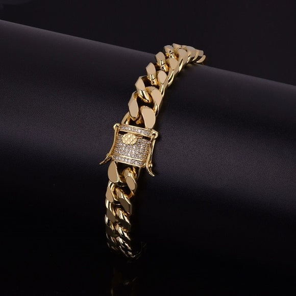 11mm Zircon Cuban Link Bracelet