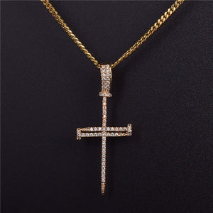 Hot Gold Zircon Nail Cross Pendant