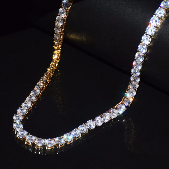 Single Row Cubic Zirconia 4mm-6mm Tennis Chain