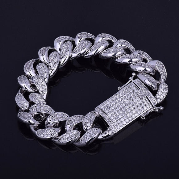 20mm Iced Zircon Miami Cuban Link Bracelet