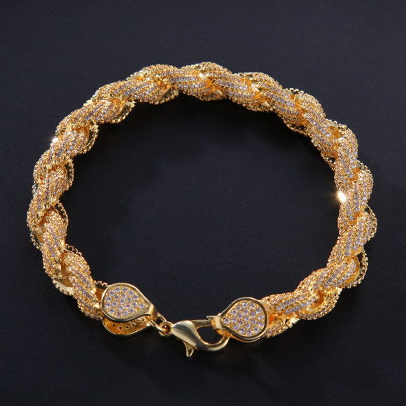 8mm Hot Cubic Zircona Rope Link Bracelet
