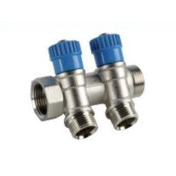 2 Way Manifold with Stop Valves (Nickel Plated) - Trade Angel