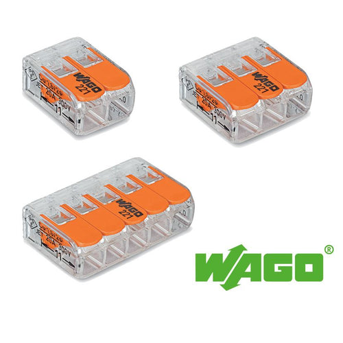 Wago 221 Compact Lever Splicing Connector 4mm - packs of 5 - Trade Angel