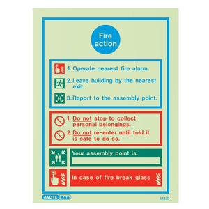 A Range of Photoluminescent Fire Action Safety Signage - Trade Angel