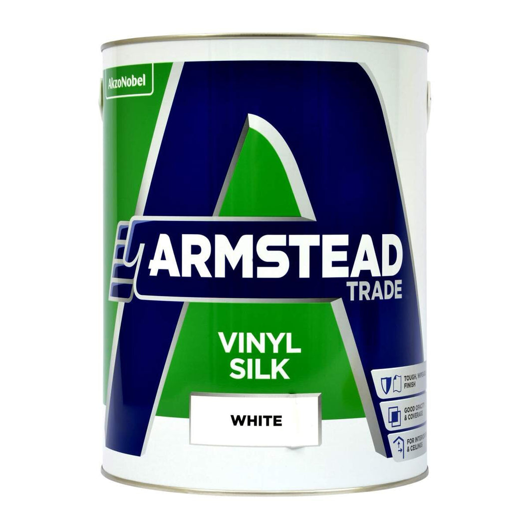 Armstead Vinyl Silk - White - made by Dulux