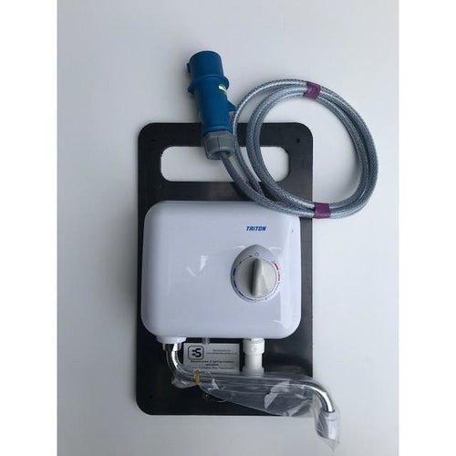 Pre wired SY hot water hand wash unit terminated in 16A commando plug on HDPE board - Trade Angel