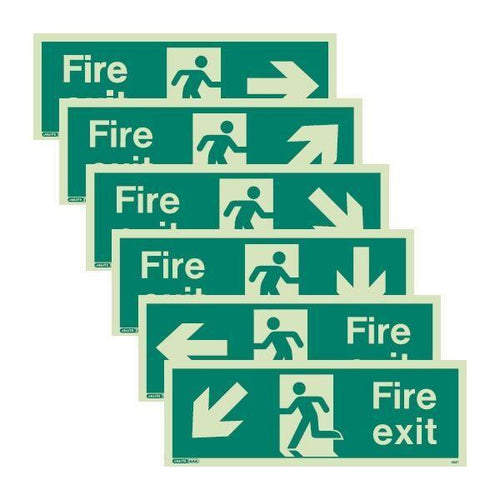 A Range of Photoluminescent Fire Exit Signage - with directional arrows - in three different sizes - Trade Angel