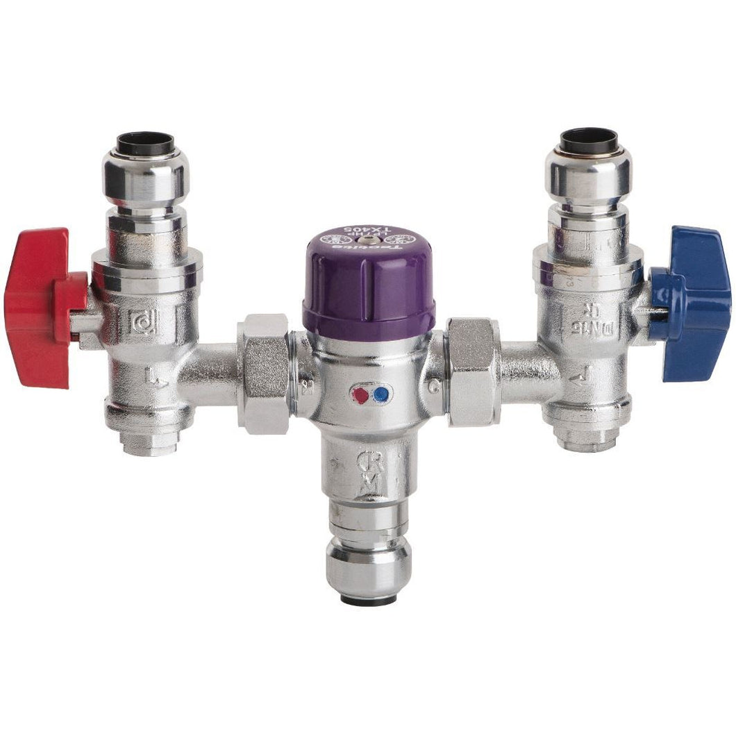 Thermostatic mixing valve with Shut-off (Push-Fit) - Trade Angel