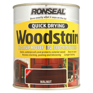 Ronseal - Quick Drying Woodstain - Gloss - 750ml - Walnut