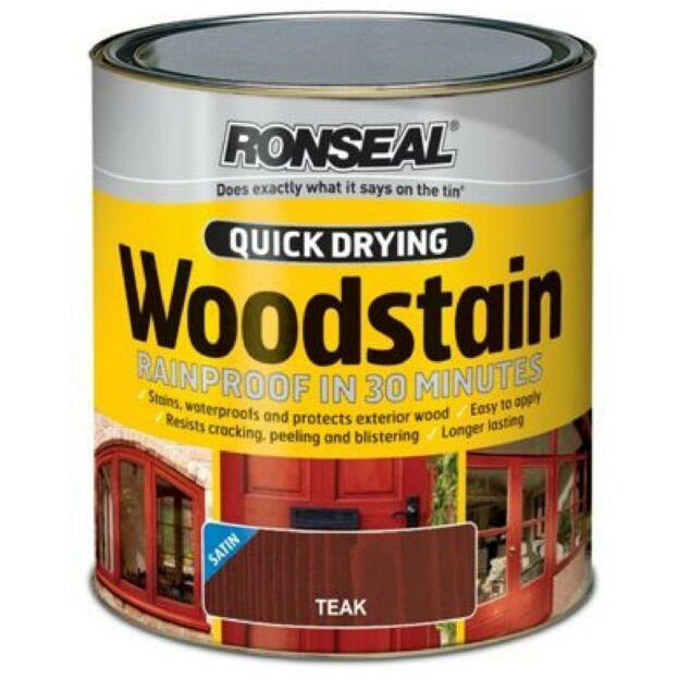Ronseal - Quick Dry Woodstain - Satin Teak - 2.5l
