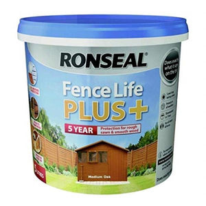 Fence Life Plus Medium Oak This is Ronseal's toughest and most versatile fence and shed treatment yet