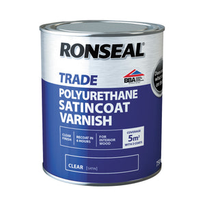 Ronseal - Trade Satincoat Clear Polyurethane Varnish 0.75l