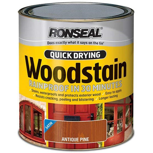 Ronseal - Quick Drying Woodstain - Satin Antique Pine - 750ml