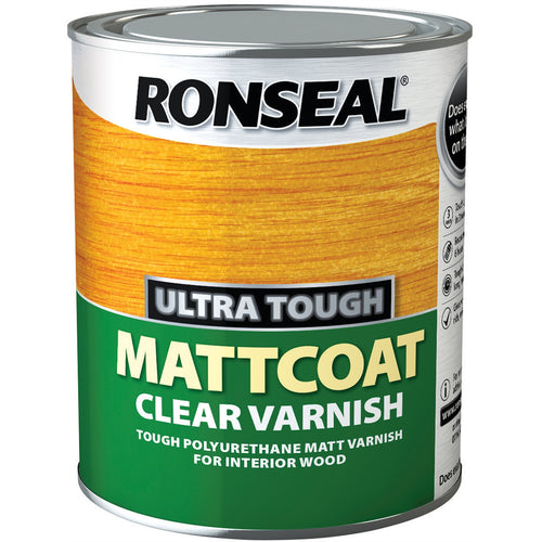 Ronseal - Ultra Tough - Mattcoat - Clear Polyurethane Varnish 0.75l
