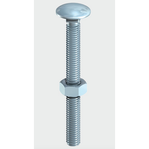 BZP Carriage Bolt & Hex Nut - Trade Angel
