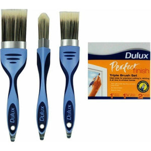 "Dulux Perfect Finish Triple Pack Paint Brush Set 1.5"" 2"" & 1"" Triangular"