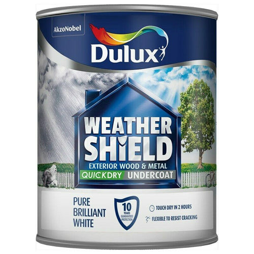 Dulux Retail Weathershield Exterior Quick Dry Undercoat Pure Brilliant White - 750ml