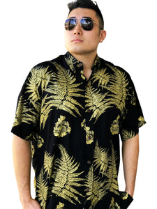 Men's Black and Gold Palapalai and Lehua Aloha Shirt