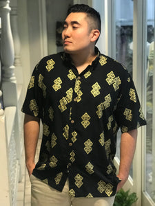 Black and Gold Men's Aloha Shirt First Cut