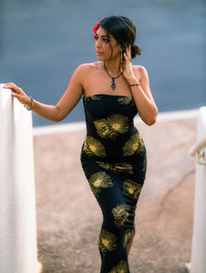 Dress Leimakamae Black and Gold Hopoelehuaopuna (Lehua)