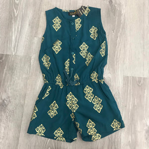 Little Girls Romper Teal and Gold First Cut