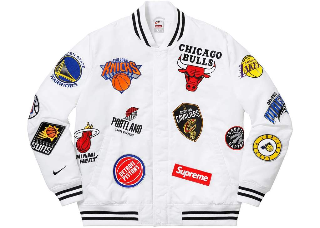 the latest 9b0a8 297e5 Supreme x Nike NBA Teams Warm-Up Jacket Black White Blue