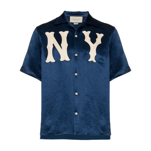 936215e04 Gucci Bowling Shirt NY New York Yankees silk blue jersey – The ...