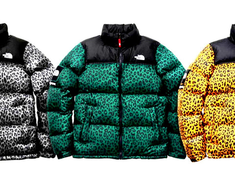 f1daf05d4e16 Supreme x The North Face Leopard Nuptse 3 colorways yellow green grey