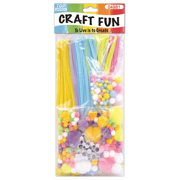 Arts & Crafts Chenille Stem Set Includes Pipe Cleaners, Fuzzy Balls, Googly Eyes
