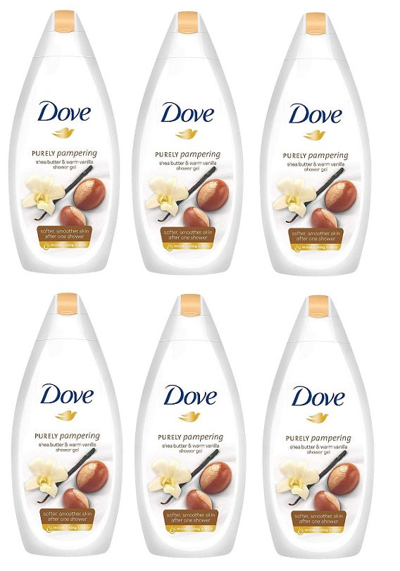 Dove Purely Pampering Shea Butter & Warm Vanilla Body Wash, 500ml (Pack of 6)